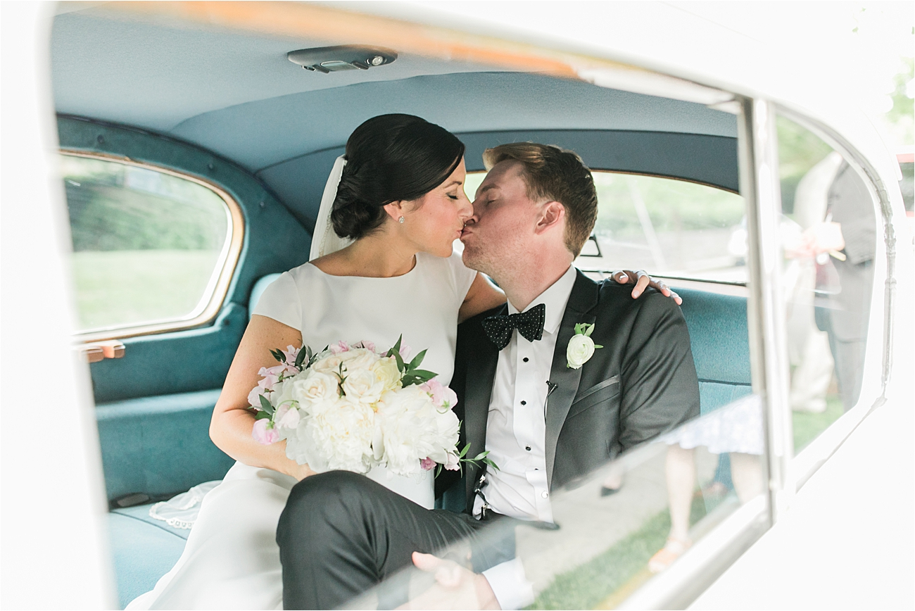 Bride and Groom classic car portrait at Columbia Country Club