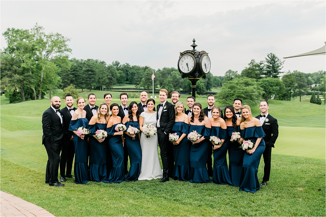 Bridal party portrait at Columbia Country Club
