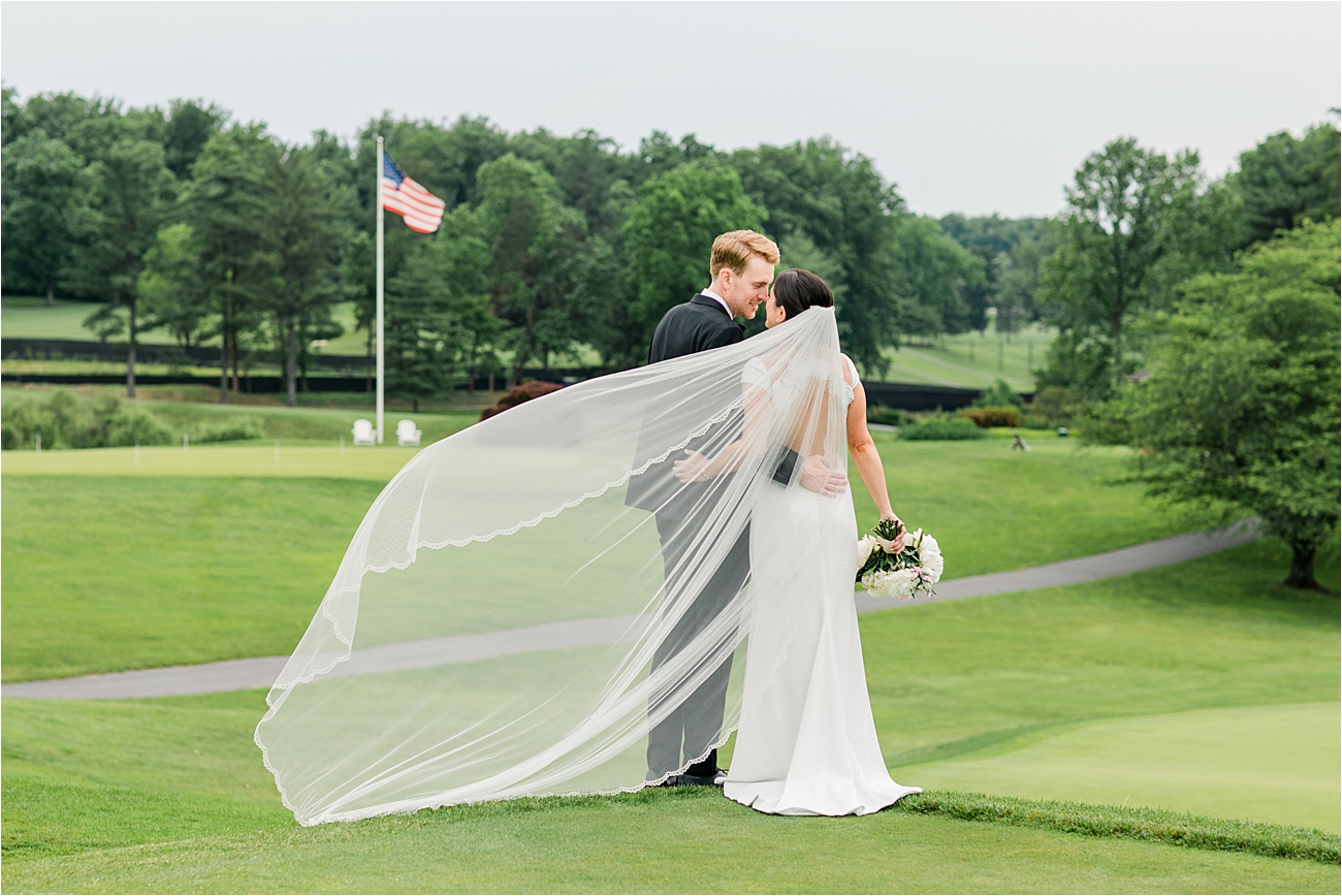 Bride and groom portrait at Columbia Country Club.