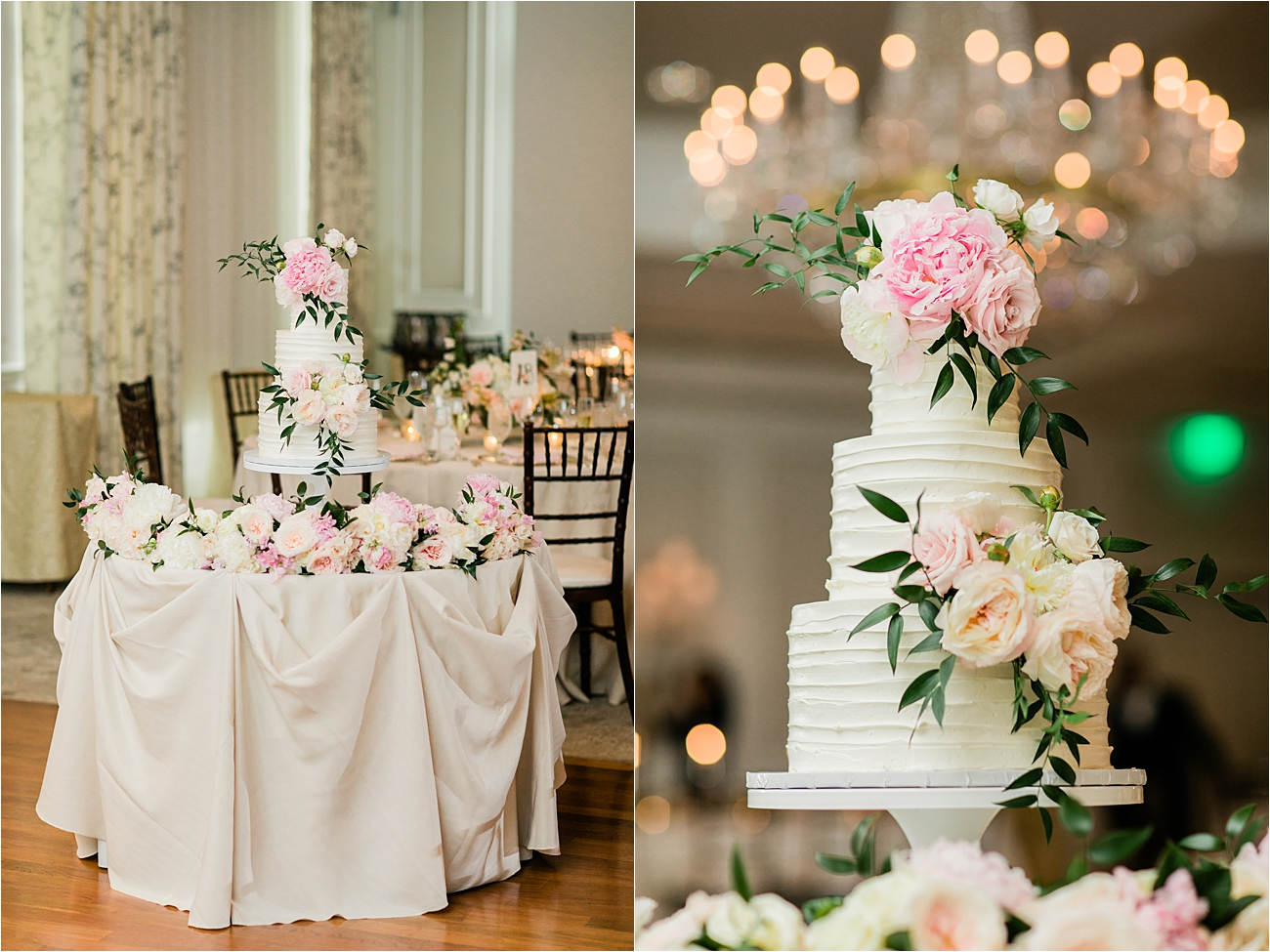 Photo of wedding cake at Columbia country club wedding reception